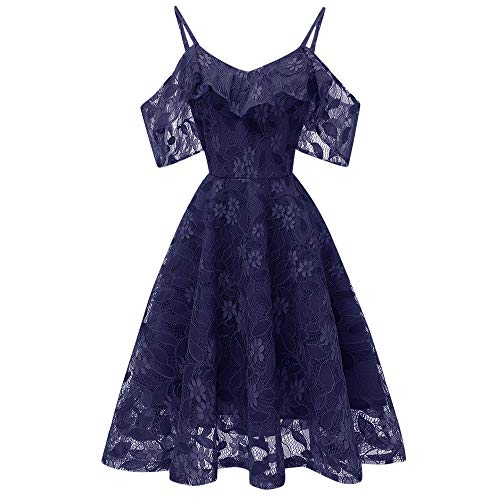 DEATU Princess Lace Dress Women Vintage Floral Cute Lace Cocktail Neckline Ladies Party Aline Swing Sleeveless Dress(Navy,XXL)