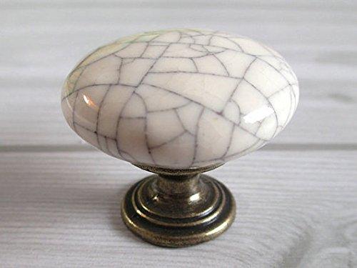 Ceramic Knob Kitchen Cabinet Dresser Drawer Handle White Crackle Antique Bronze Furniture Door Hardware Porcelain (White Crackle Porcelain Antique)