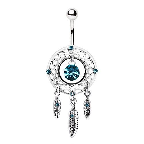 WildKlass Jewelry Native Dream Catcher Navel Ring 316L Stainless Steel ()