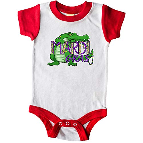 inktastic - Mardi Gras Alligator Infant Creeper 18 Months White and Red 33b05