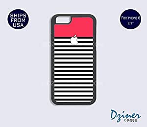 iPhone 6 Case - 4.7 inch model - Red Black White Strieps Design iPhone Cover