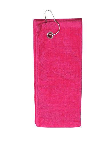 Simplicity 100% Cotton Terry Golf Towel w/Grommet Hook Side Hook_Tropical Pink (Towel Velour Fold Tri)