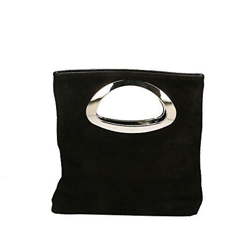 de la Made Sac Italy femme in à 26x25x8 Cm en Aren cuir Noir véritable main wCFtBISq