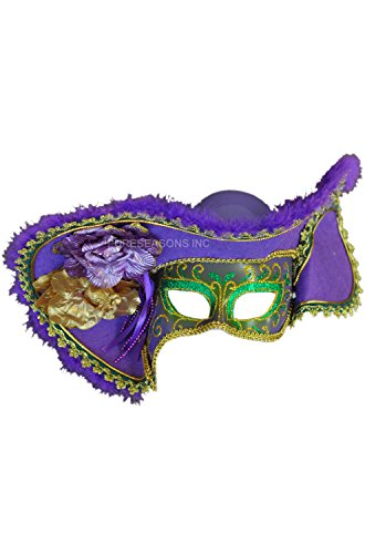 Venetian Mask Pirate Hat Purple Green and Gold Mardi Gras Costume Masquerade (New Orleans Costume)