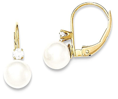 ICE CARATS 14k Yellow Gold 6mm Freshwater Cultured Pearl Diamond Leverback Earrings Lever Back For Women Drop Dangle by ICE CARATS