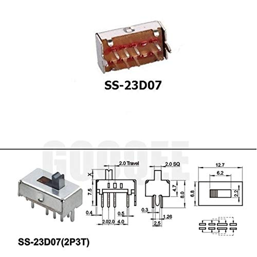 Color: SS 12F17, Standard: 1pcs 1//5//10//20pcs SS 12D00 Slide switch slide gear fluctuation band 2//3 file single double horizontal mini horizontal power supply