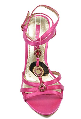 NINE WEST - Mujer Sandalias De Correa Del Tobillo De Cuña NWJUVELIE DARK PINK Tacón: 10 cm