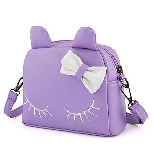 Pinky Family Cute Cat Ear Kids Handbags PU Leather Crossbody Bags and Backpacks (purple)