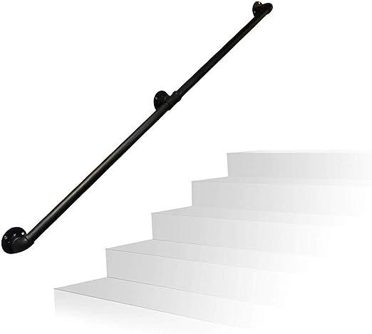 Pasamanos de escalera 1 Pie-Pasamanos De 20 Pies De La Escalera, Profesional Industrial Hierro Forjado Mate Negro Tubería De Escalera Baranda, Pasillo Inicio Barandilla Barandilla De La Escalera Baran: Amazon.es: Hogar