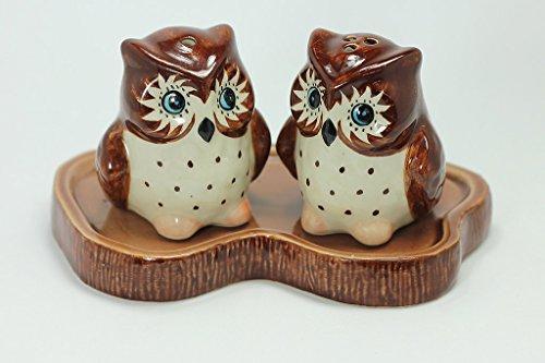 Owl Salt and Pepper Shaker Ceramic Owl Figurine Miniature Hand Painted