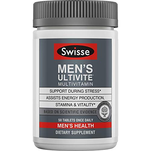Swisse Premium Ultivite Daily Multivitamin for Men | Energy & Stress Support, Rich in Antioxidant & Minerals | Vitamin A, Vitamin C, Vitamin D, Biotin, Calcium, Zinc & More | 50 Count Tablets