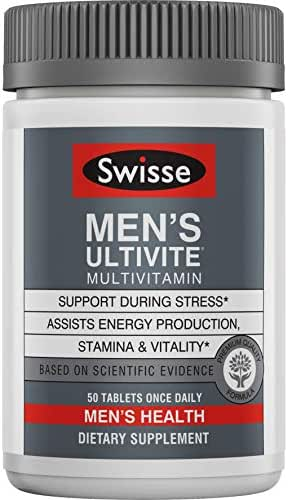 Swisse Premium Ultivite Daily Multivitamin for Men | Energy & Stress Support, Rich in Antioxidant & Minerals | Vitamin A, Vitamin C, Vitamin D, Biotin, Calcium, Zinc & More | 50 Tablets