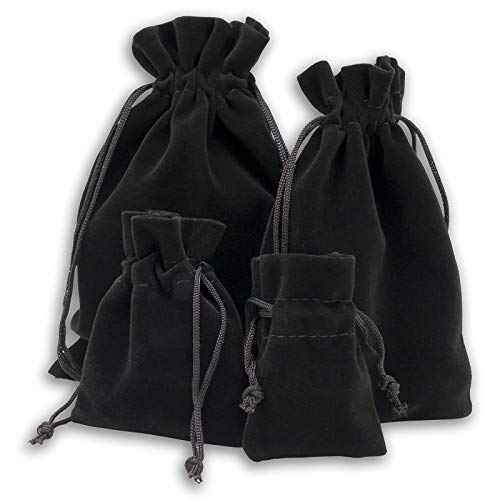 12-Pack Medium Heavyweight Velvet Bags with Cord Drawstring (3x3-1/2, Black) for Dice Jewelry Stone Crystal Pouches by TheDisplayGuys