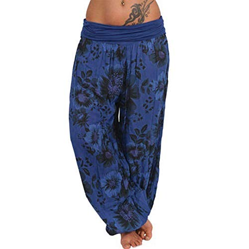ZEFOTIM Women Plus Size Print Loose Casual Elastic Pants Cropped Full Length Trousers (M,B-Navy)