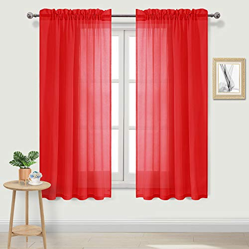DWCN Red Sheer Curtains Linen Rod Pocket Window Curtain Panels Voile Sheer Bedroom Curtains, 52 x 63 inch Length, 2 Panels Set