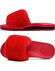 Coface Dames Huis Pantoffels Slippers Pluche Bont Sliders voor Dames Slip On Traagschuim Huisschoenen Open Teen Gezellige Slippers Pantoffels Indoor Dames Schoenen Sloffen Platte Sandalen