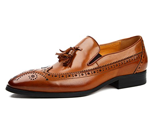 Zapatos Clásicos de Piel para Hombre Zapatos de cuero para hombres Zapatos ocasionales respirables de estilo británico Zapatos retros de negocios ( Color : Negro , Tamaño : EU42/UK7.5 ) Yellow-brown