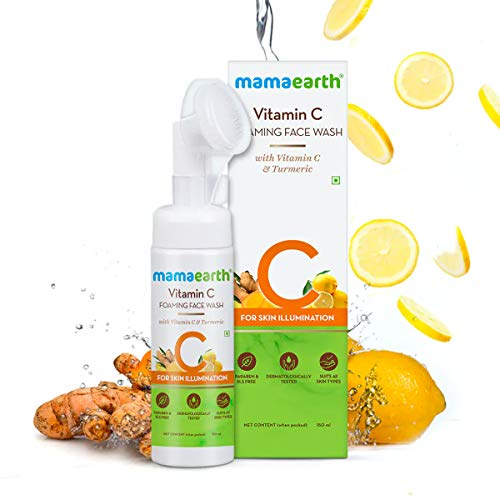 Mamaearth Vitamin C Face Wash with Foaming Silicone Cleanser Brush Powered by Vitamin C & Turmeric – 150ml
