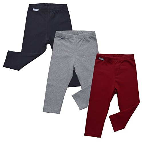 Warm Cozy Unisex Baby Toddler Kids Fall Leggings (3-Pack: Black/Gray/Maroon Red -2T)
