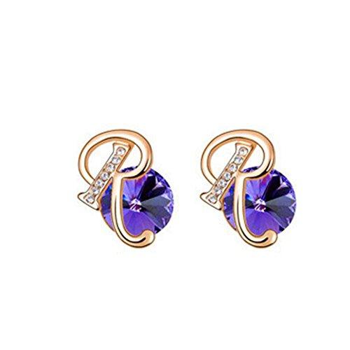 MosierBizne Crystal Beautiful Letters Earrings(1)