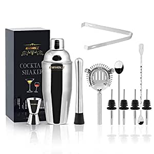 GWHOLE Set 11 Pcs Cocktail Making Set Cocktail Shaker Kit with Double Measurer Jigger, Ice Tongs, Recipes (e-Book), Pourers, Muddler, Spoons, Cocktail Strainer in Elegant Gift-Box