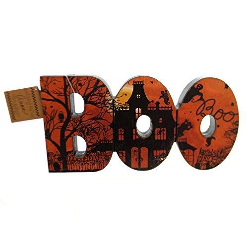 [Halloween BOO CHUNKY WOOD SIGN Wood Haunted House Boo Trick Treat 47059] (Wood Boo Sign)
