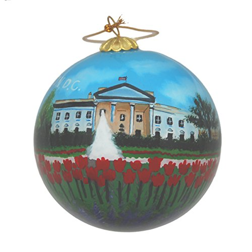 Hand Painted Glass Christmas Ornament - Washington D. C. - White House with Red Tulips