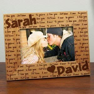 KISSING Romantic Engraved Wood Picture Frame Valentine/'s Day Anniversary GIFT
