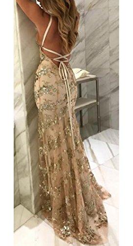 Alion Sexy Des Femmes De Longue Sequin Spaghetti Robe De Soirée Abricot Robe De Bal Sangle
