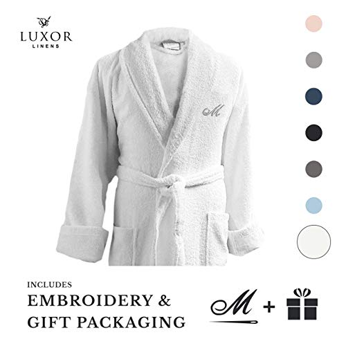 Luxor Linens Couple's Terry Cloth Bathrobe Egyptian Cotton Unisex/One Size Luxurious Soft Plush Elegant San Marco (Single Robe, Custom Monogram with Gift Packaging)