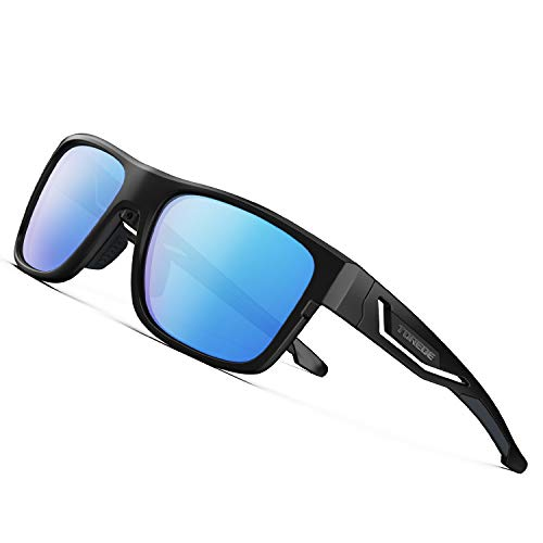 TOREGE Polarized Sports Sunglasses For Man Women Cycling Running Fishing Golf TR90 Unbreakable Frame TR12 WANDERER (Black&Black&Ice Blue ()
