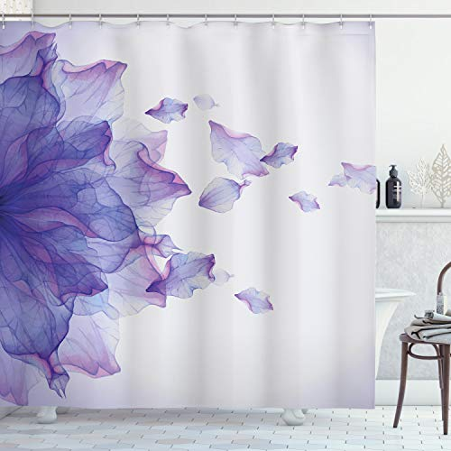 """Ambesonne Flower Shower Curtain, Abstract Themed Modern Futuristic Image with Water Like Colored Artwork Print, Cloth Fabric Bathroom Decor Set with Hooks, 75"""" Long, Lilac Pink"""