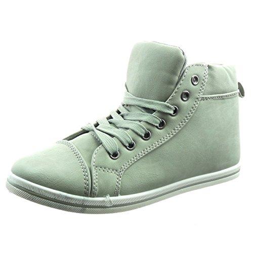 Sopily - Sneaker Da Donna Di Moda Scarpe Cuciture Trapuntate Rifinite - Grigio