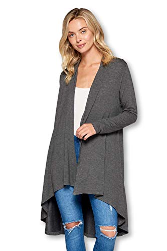 Long Open Front Soft Bamboo Cardigan Sweater for Women (S - 5XL) - Made in USA (Small, Charcoal) ()