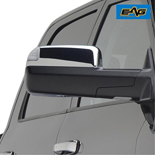 E-Autogrilles Triple Chrome Plated ABS Upper Half Towing Mirror Cover for 09-16 Dodge Ram 1500 10-16 Dodge Ram 2500 / 3500 (65-0212)