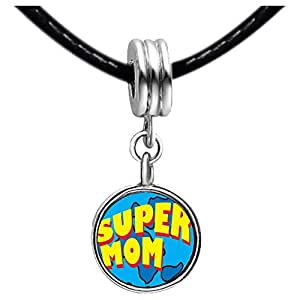 Chicforest Silver Plated the word super mom Photo Black Crystal Flower dangle Charm Beads Fits Pandora Bracelets