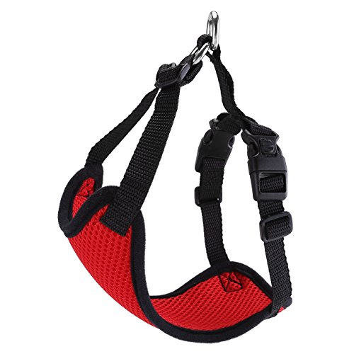 - ACBungji Vest Harness,Pet Car Seat Belt Harness No Pull Soft Mesh Front Range Adjustable for Rabbit Cat Dog (S - Chest Girth:15.7-19.6