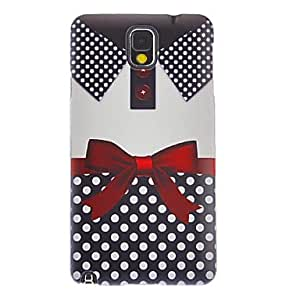Bowknot T-shirt Smooth Painting Pattern Protective Hard Back Cover Case for Samsung Galaxy Note3 N9006