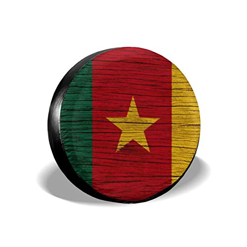 Africa Wooden Texture Cameroonian Flag Spare Tire Cover Rear Car Decorations Holiday Ornament Wheel Accessories Decor Protector 14 15 16 17 Inch for Jeep Trailers RV SUV Trucks Offroad Parts