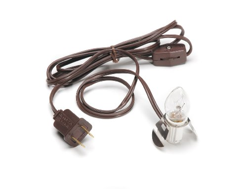 Darice Accessory Cord with One Bulb Light – 6' Brown Cord with On/Off Switch Plugs Into Electrical Outlet – Perfect for Lighting Holiday Decorations and Craft Projects (1 ()
