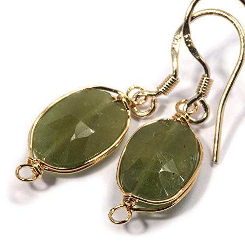 Natural Stone Wire Wrap Dangle Drop Earrings Gold Plated 925 Sterling Silver Hook/Vessonite