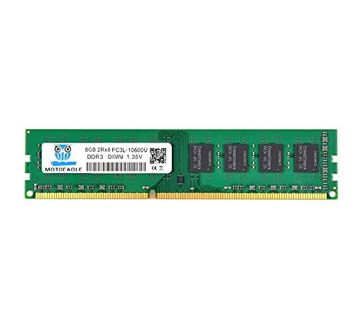 Motoeagle 8GB DDR3 1333MHz PC3-10600U Unbuffered Non-ECC 1.35V/1.5V CL9 2Rx8 Dual Rank 240 Pin UDIMM Desktop Memory Ram Module Upgrade