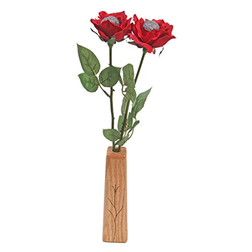 11th Wedding Anniversary gift 2-stem steel wool roses with vase
