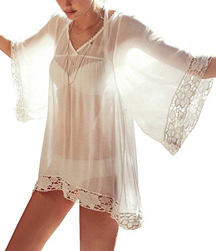 Sheer Chiffon Lace Trim Babydoll Nightgown Sleepwear Lingerie, (White Sheer Nightshirt)