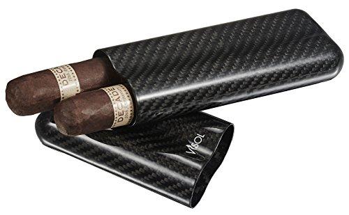Visol Products VCASE499L Night II Carbon Fiber Large Cigar Case - 2 Finger