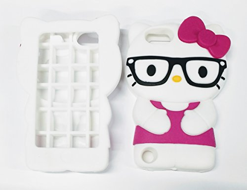 ty Nerd Case Bundle - 3 items: MAGENTA 3D Hello Kitty ( with Glasses ) Silicone Case for iPod Touch 6th/ 5th + Screen Protector + METALLIC Stylus Touch Pen ()