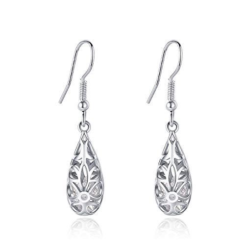 (Filigree Puffed Teardrop Dangle Hook Earrings Vintage 925 Sterling Silver Tear Drop Earrings Dangle for Women white CZ Earrings)