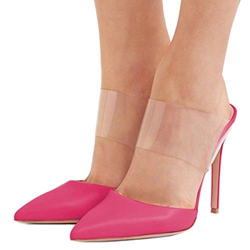 Fsj Vrouwen Strappy Stiletto Hoge Hakken Duidelijk Sandalen Wees Teen Sexy Party Schoenen Maat 4-15 Ons Fuchsia