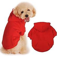 BaoZhang Pet Fleece Hoodies Basic Cotton Sweatshirt with Pocket Puppy Cat Winter Jacket Dog Cold Weather Coats,Red XS