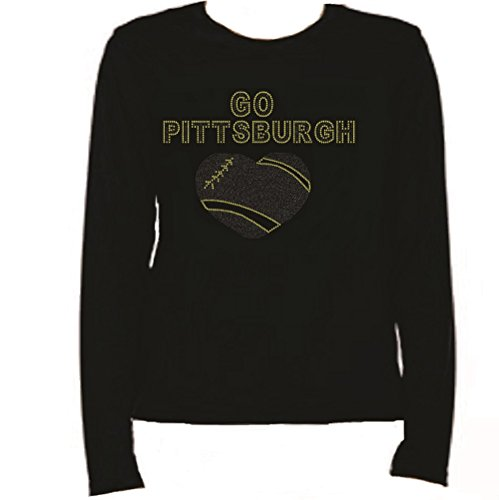 Rhinestone Pittsburgh Football Heart T Shirt LR YC1T by Jeannies Rhinestone World